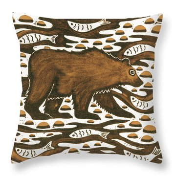 Fishing Bear Throw Pillow