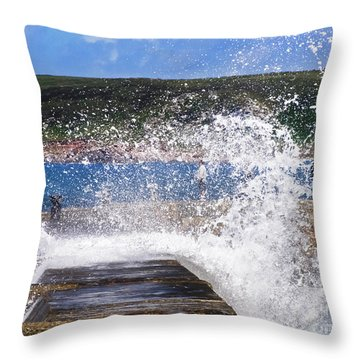 Fishing Beyond The Surf Throw Pillow by Terri Waters