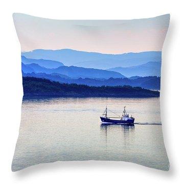 Fishing Boat At Dawn Throw Pillow