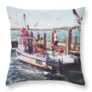 Fishing Boat At Mudeford Quay Throw Pillow