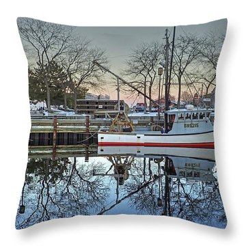 Fishing Boat At Newburyport Throw Pillow