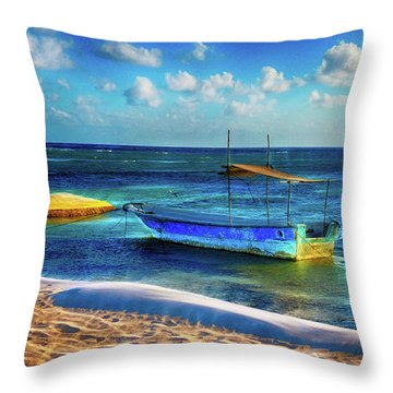 Fishing Boat At Rest Throw Pillow