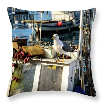 Fishing Boat Captain Seagull - Rovinj, Croatia Throw Pillow