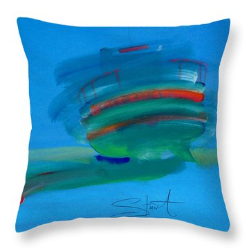 Fishing Boat Hastings Throw Pillow by Charles Stuart