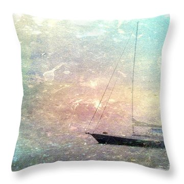Fishing Boat In The Morning Throw Pillow