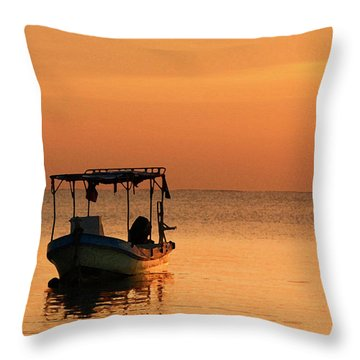 Fishing Boat In Waiting Throw Pillow