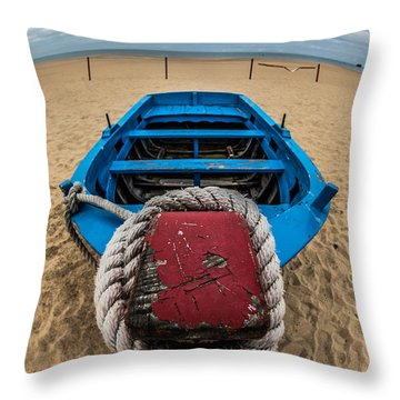 Little Blue Fishing Boat Throw Pillow