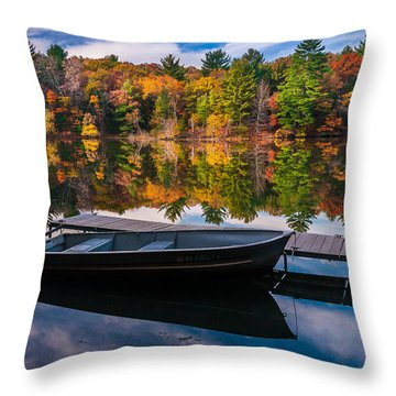 Fishing Boat On Mirror Lake Throw Pillow