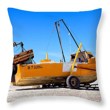 Fishing Boat Throw Pillow by Silvia Bruno