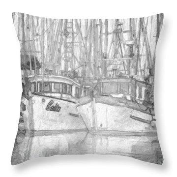 Fishing Boat Sketch Throw Pillow by Richard Farrington
