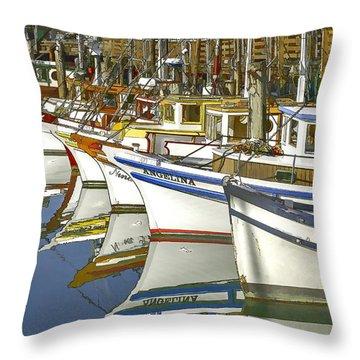 Fishing Boats At Fisherman's Wharf Throw Pillow
