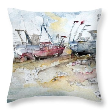 Fishing Boats At Hastings' Beach Throw Pillow by Barbara Pommerenke