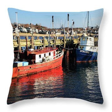 Fishing Boats At Provincetown Wharf Throw Pillow by Roupen  Baker