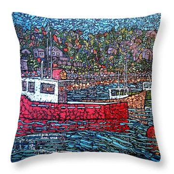 Fishing Boats - Beaver Harbour Throw Pillow
