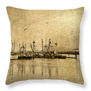 Fishing Boats Columbia River In Sepia Throw Pillow