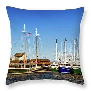 Fishing Boats In Cape May Harbor Throw Pillow