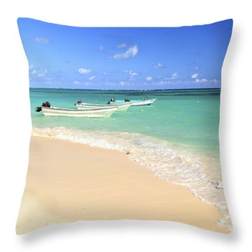 Fishing Boats In Caribbean Sea Throw Pillow