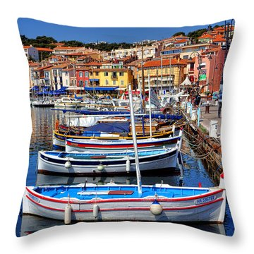 Throw Pillow featuring the photograph Fishing Boats In Cassis by Olivier Le Queinec