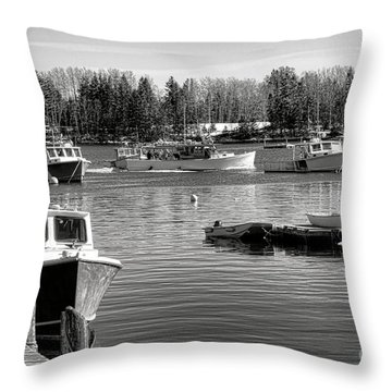Throw Pillow featuring the photograph Fishing Boats In Friendship Harbor In Winter by Olivier Le Queinec
