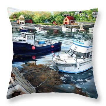 Fishing Boats In Lanes Cove Gloucester Ma Throw Pillow by Eileen Patten Oliver