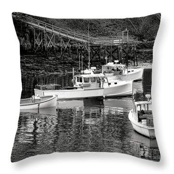 Throw Pillow featuring the photograph Fishing Boats In Maine Port by Olivier Le Queinec