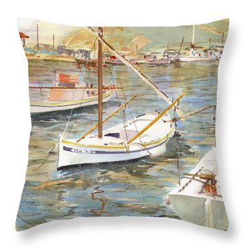 Fishing Boats In Skopelos Throw Pillow by David Gilmore