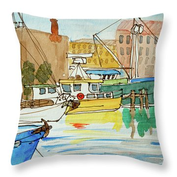Fishing Boats In Hobart's Victoria Dock Throw Pillow