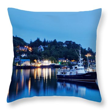 Fishing Boats Of Orban Throw Pillow by Robert Charity