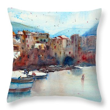Fishing Boats On The Beach Of Cefalu Throw Pillow by Andre MEHU