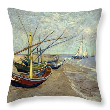 Throw Pillow featuring the painting Fishing Boats On The Beach by Van Gogh
