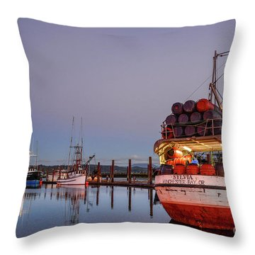 Fishing Boats Waking Up For The Day Throw Pillow