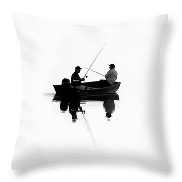 Fishing Buddies Throw Pillow by David Lee Thompson