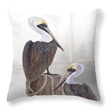Fishing Buddies Throw Pillow by Kevin Brant