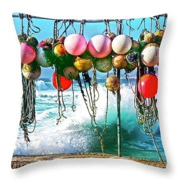Fishing Buoys Throw Pillow by Terri Waters