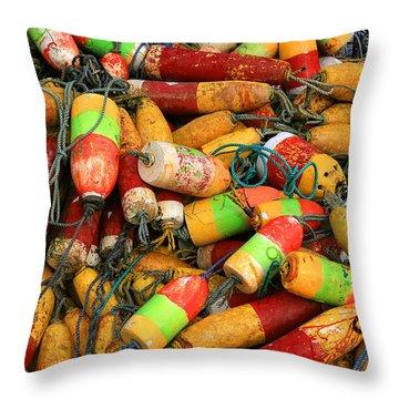 Fishing Buoys Throw Pillow