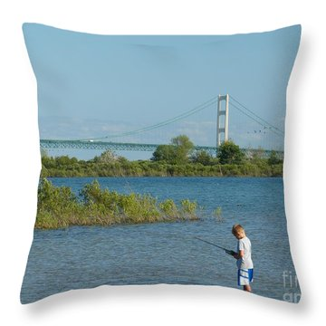 Fishing By The Macinac Throw Pillow