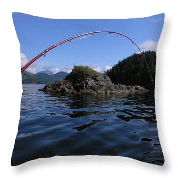 Fishing Camel Rock Throw Pillow