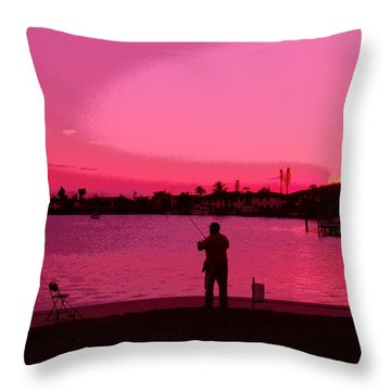 Fishing Day Ends Throw Pillow