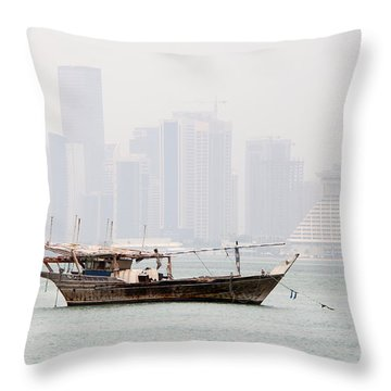 Fishing Dhow And Misty Towers Throw Pillow