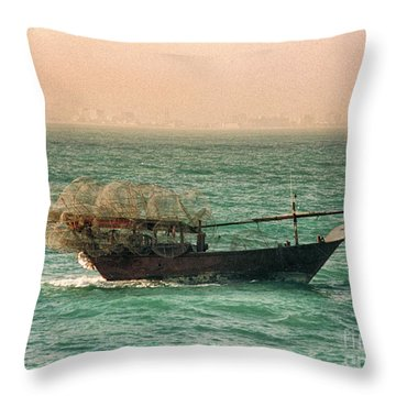 Throw Pillow featuring the photograph Fishing Dhow by Charles McKelroy