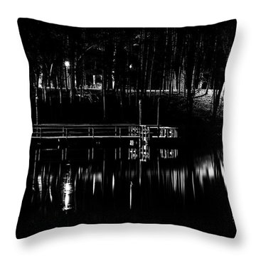 Throw Pillow featuring the photograph Fishing Dock At Night 2017  by Thomas Young
