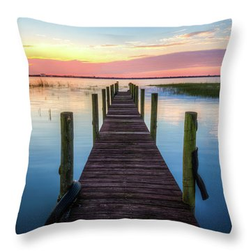 Throw Pillow featuring the photograph Fishing Dock At Sunrise by Debra and Dave Vanderlaan