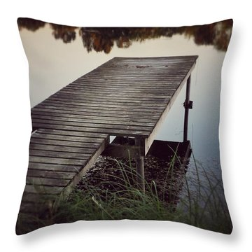 Throw Pillow featuring the photograph Fishing Dock by Karen Stahlros