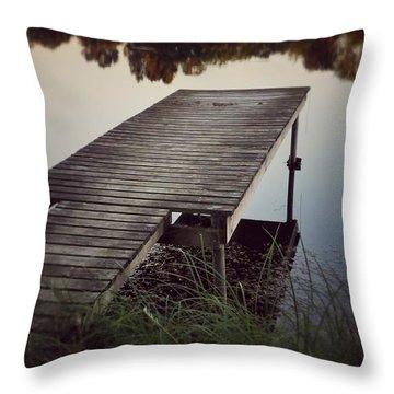 Fishing Dock Throw Pillow by Karen Stahlros