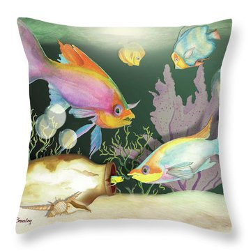 Throw Pillow featuring the painting Fishing Expedition by Anne Beverley-Stamps