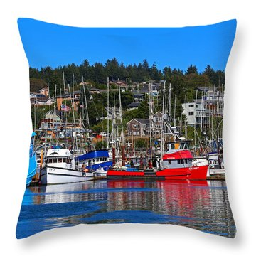 Fishing Fleet At Newport Harbor Throw Pillow by Marty Fancy