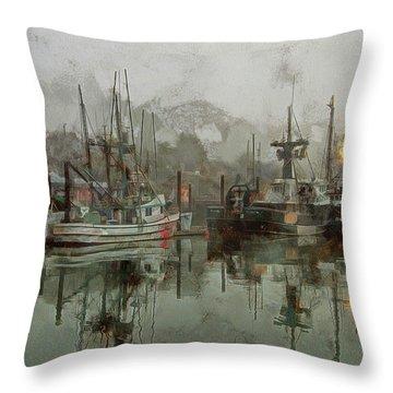 Fishing Fleet Dock Five Throw Pillow