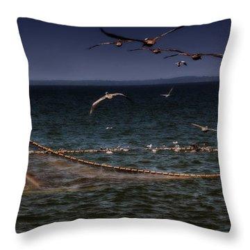 Fishing For Menhaden On The Chesapeake Bay Throw Pillow