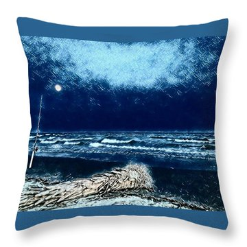 Fishing For The Moon Throw Pillow