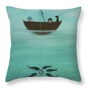 Fishing For Time Throw Pillow